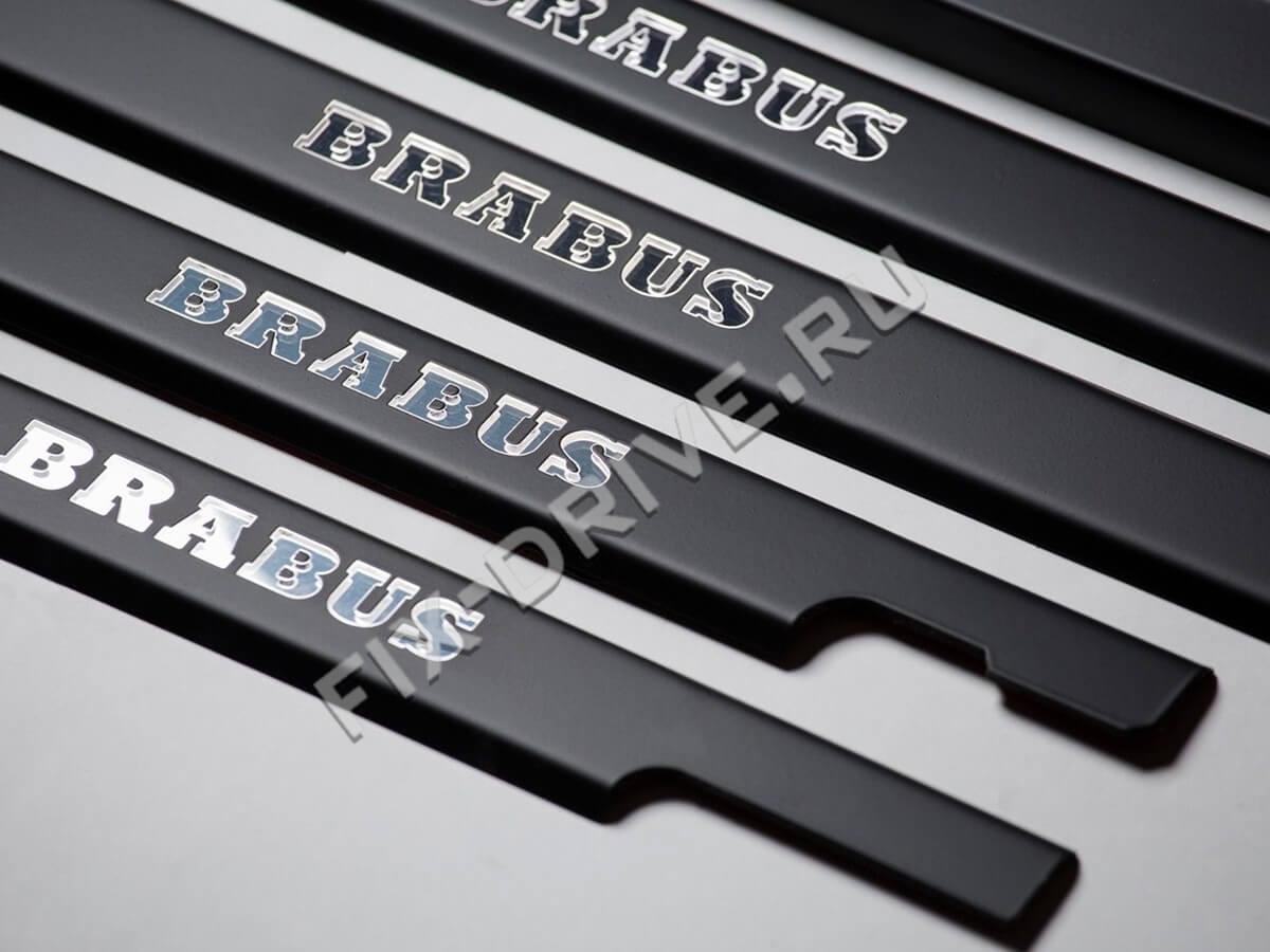 Накладки на пороги с подсветкой Mercedes G-Class w463 Brabus черные
