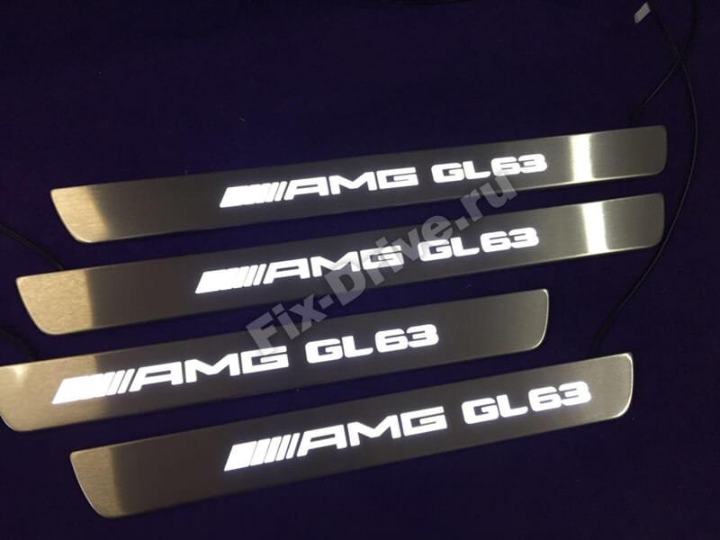 Накладки на пороги с подсветкой Mercedes-Benz GLC-Class x253 AMG