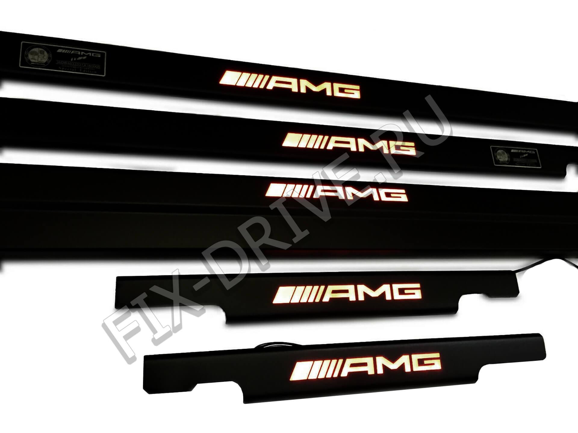 Пороги AMG с оранжевой подсветкой G-Class w463