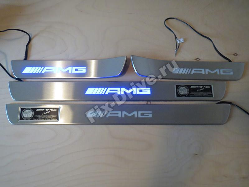Накладки на пороги с подсветкой Mercedes-Benz C-Class w204 AMG