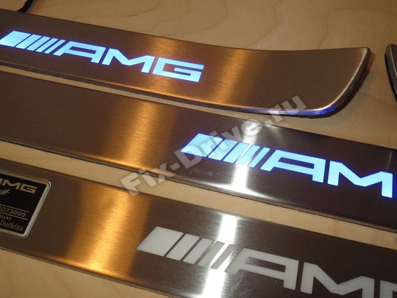 Накладки на пороги с подсветкой Mercedes-Benz E-Class w212 AMG