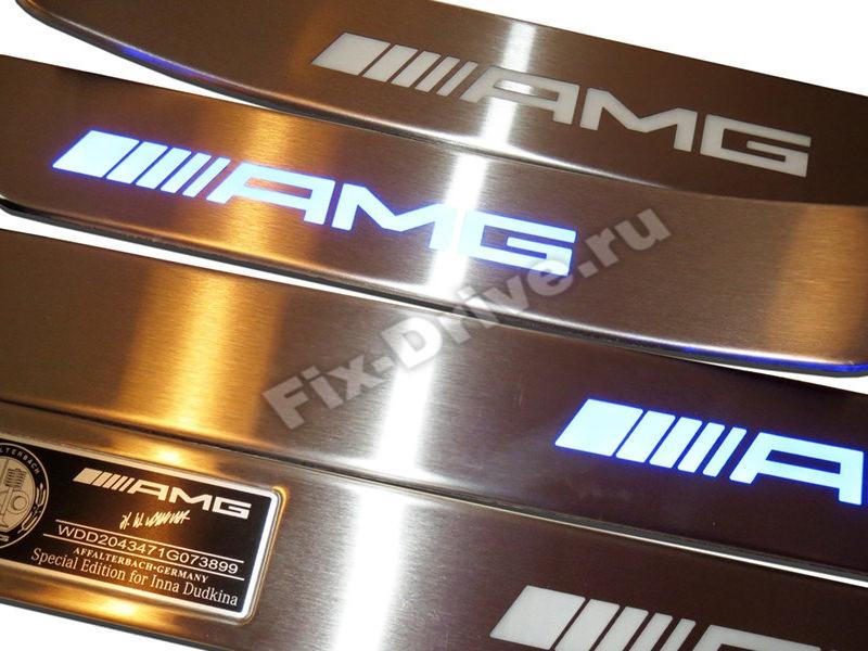 Накладки на пороги с подсветкой Mercedes-Benz C-Class w202 AMG