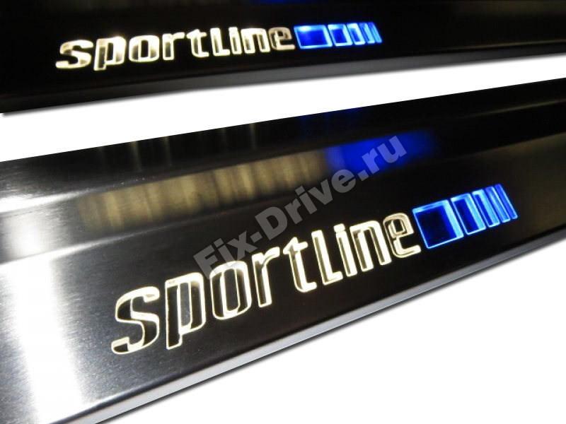 Накладки на пороги с подсветкой Mercedes C-Class w203 Long SportLine