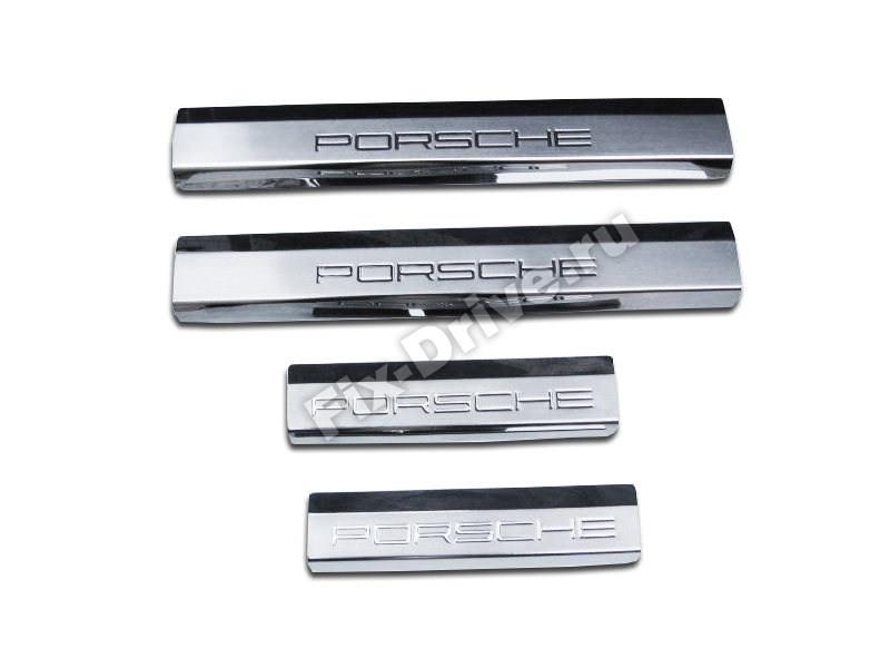 Стальные накладки на пороги Porsche Cayenne 958