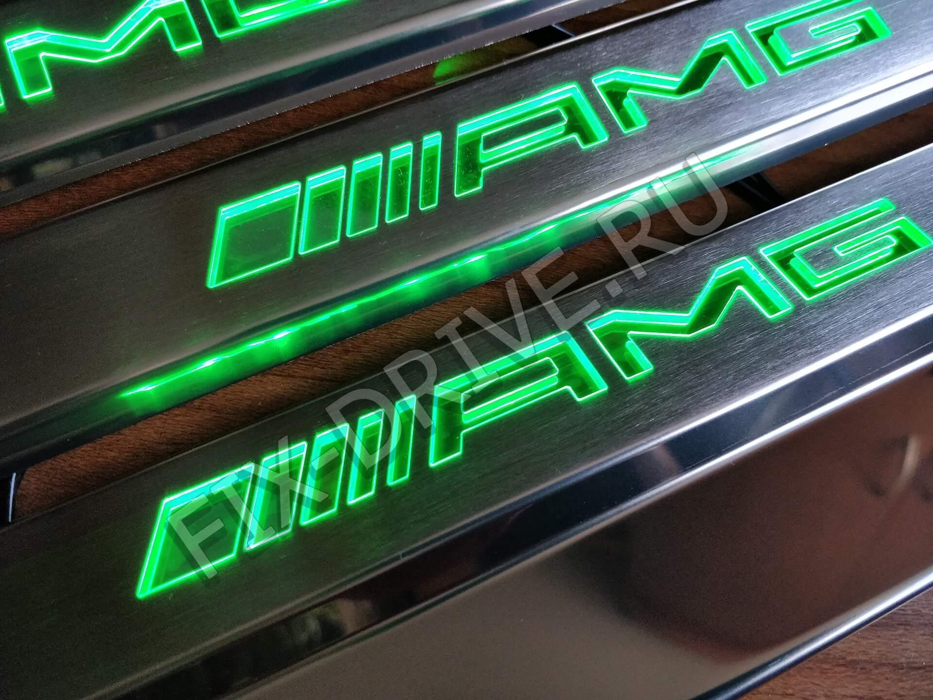Накладки на подножки AMG w463 G63 G65 зеленыая