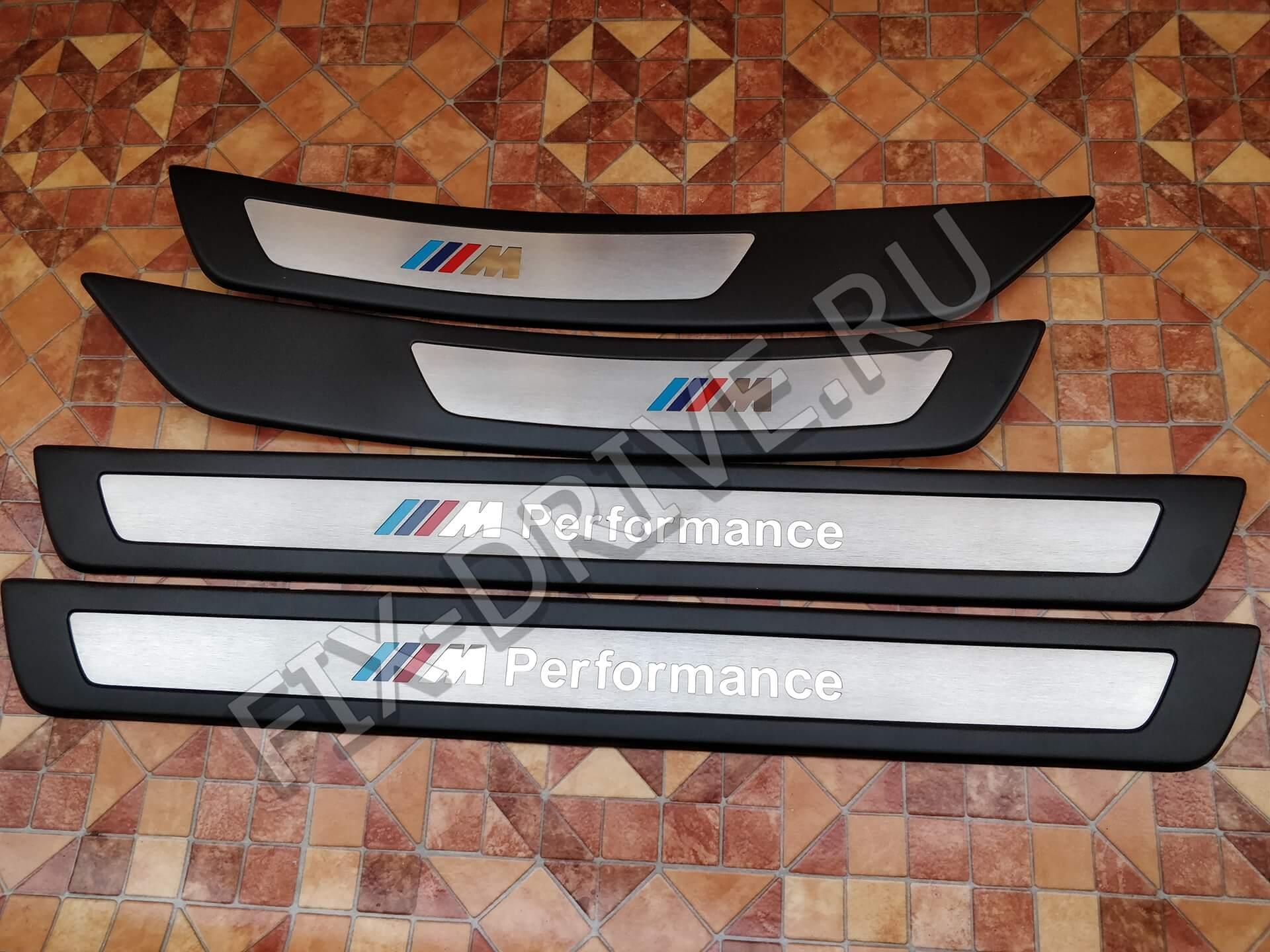 Накладки на пороги M Perfomance F10 F11 BMW инкрустация